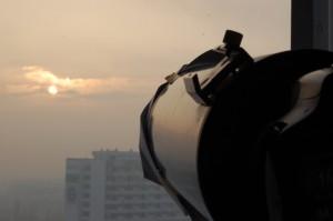 Widoczny mój teleskop z drugim aparatem Canon.