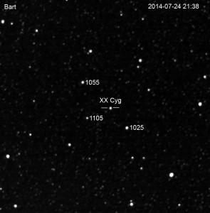 Okolica zmiennej XX Cygni obserwowana teleskopem BArt