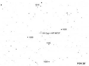 Okolica gwiazdy zmienne XX Cygni w ognisku teleskopu 280/1500 mm
